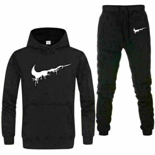 Men/'s 2Pcs Tracksuit  Hoodies Sweatshirt Pants Bottoms Sport Set Jogging Suit UK