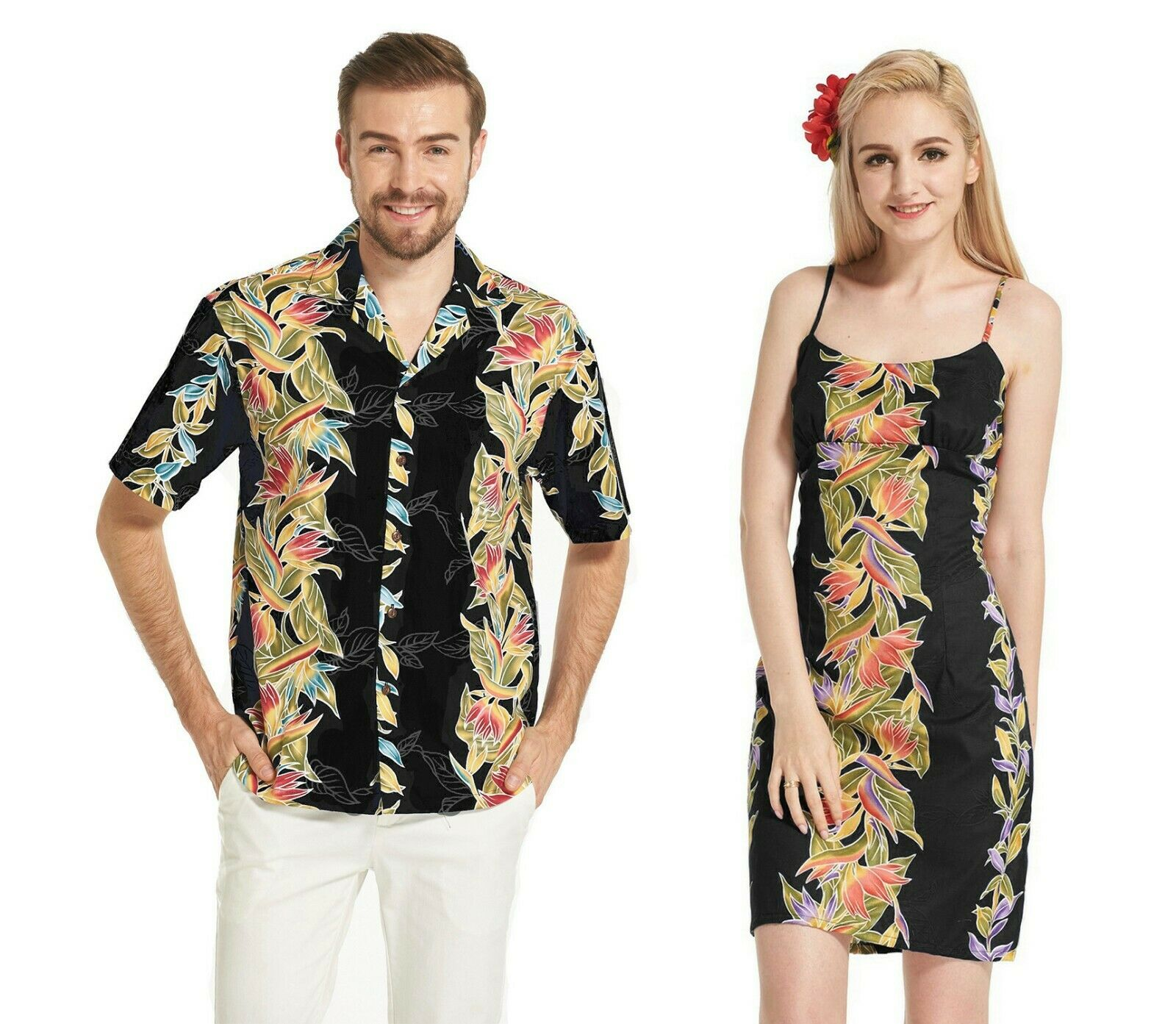 Couple Matching Made in Hawaii Shirt and Dress in Bird of Paradise Black