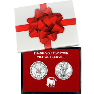 Military-Service-US-Navy-Round-and-Silver-American-Eagle-2pc-Box-Set