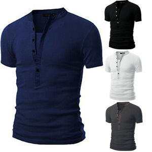 Men-039-s-Slim-Fit-V-Neck-Short-Sleeve-Muscle-Tee-T-shirt-Casual-Button-Shirts-Tops