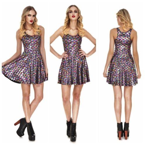 Lady Mini Pleated Dress Metallic Shiny Scale High Waist Stretchy Party Club Wear