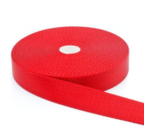 "1 Inch Red Nylon Webbing 1/"" Width Medium Weight Nylon"