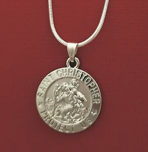 St-CHRISTOPHER-Necklace-Silver-Plated-Charm-Pendant-and-Chain-Travel-Saint