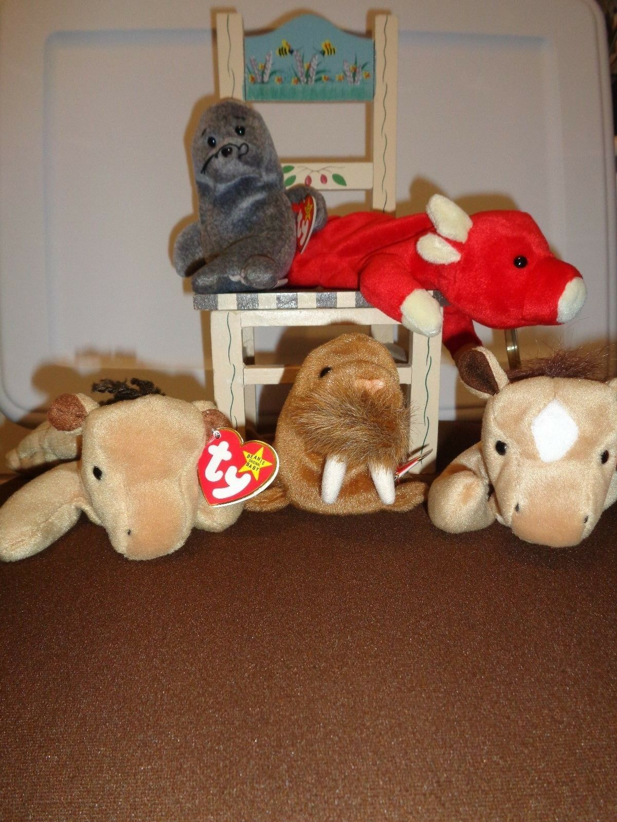 Ty Beanie Babies Favorites Includes Derby, Snort, Paul & Slippery Lot of 5