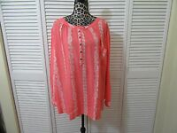 Hydraulic Denim Blouse, Top, Plus 3x, Nwt,coral And White, Ls, Rounded Neck,