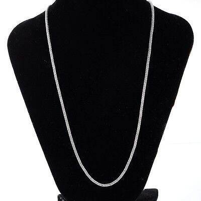 Men Women 2.4mm Stainless Steel Silver Mesh Chain Necklace 20inches