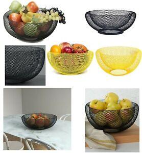 Mesh-Fruit-Bowl-Basket-Dinning-Table-Kitchen-Vegetables-Fruit-Storage-Rack-Black