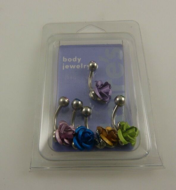 Rose pink blue gold crystal belly button ring, piercing, body jewelry 5 piece