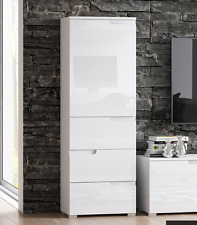 Cellini White Gloss Slim Tallboy Storage Unit with Cupboard and Drawers S11