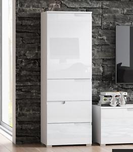 Cellini White Gloss Slim Tallboy Storage Unit with ...