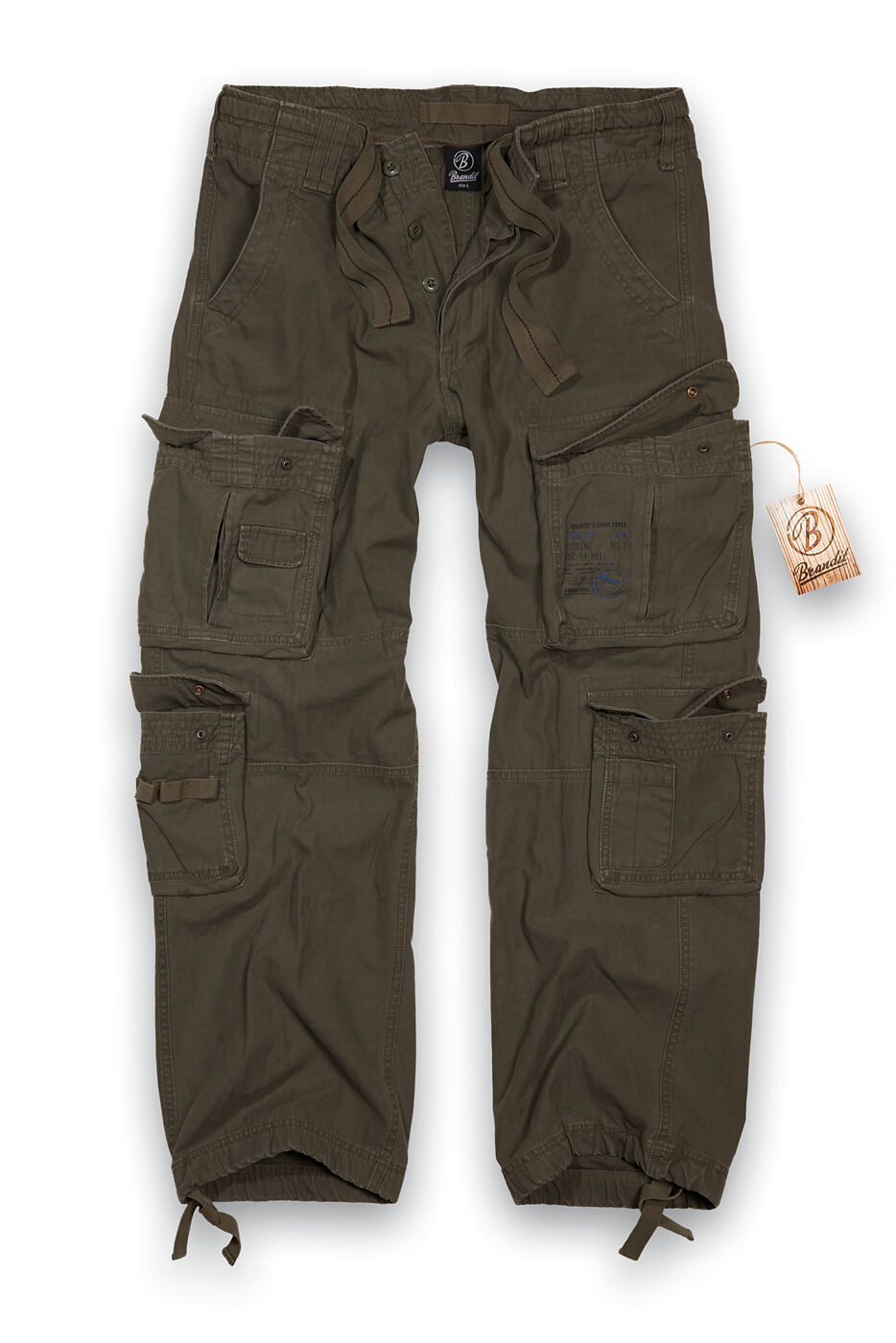BRANDIT PURE VINTAGE COMBAT TROUSERS  Herren LARGE SIZE CARGO PANTS WORKWEAR  OLIVE