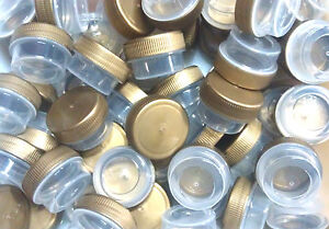100-tiny-1-tsp-Empty-Sample-JARS-Gold-LID-Caps-Plastic-Container-DecoJars-USA