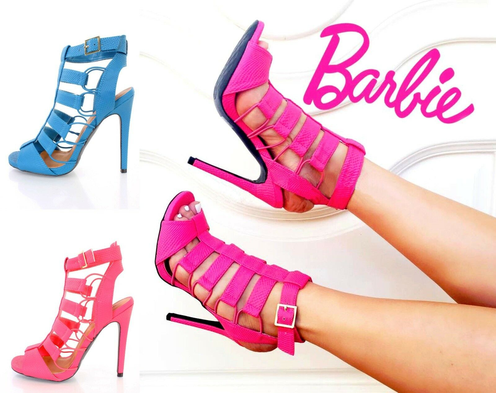 New Lot Blau Pink Snake Skin TextuROT Strappy Booties High Heels Faux Leder