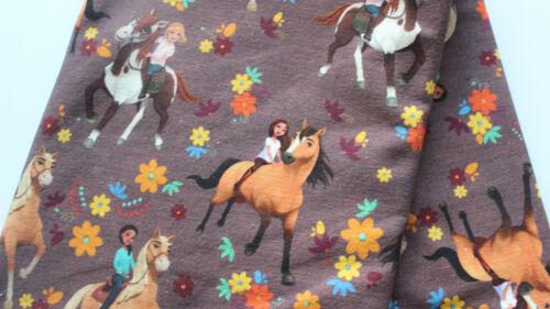 NEU Baumwolljersey 0,25 x 1,50 Lizendruck Spirit Riding Free Pferd auf braun