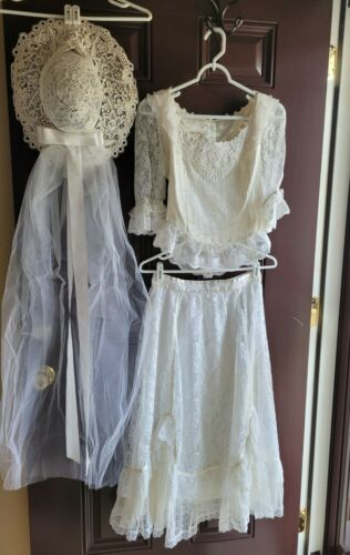 1970's VINTAGE JESSICA'S GUNNIES wedding set TOP S