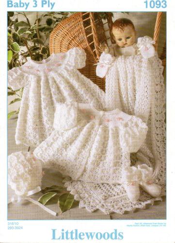"Littlewoods 1093 Vintage Baby Tejer patrón 3 Capas Layette 12-18 /""prem-6 mes"