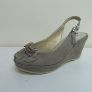 buy online a67c6 2a574 Details about Peter Kaiser Belen taupe suede peep toe wedge heel slings, UK  3.5/EU 36.5, BNWB