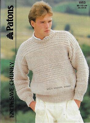 Patons Knitting Pattern for Jumper No 4027 using Wool Aran