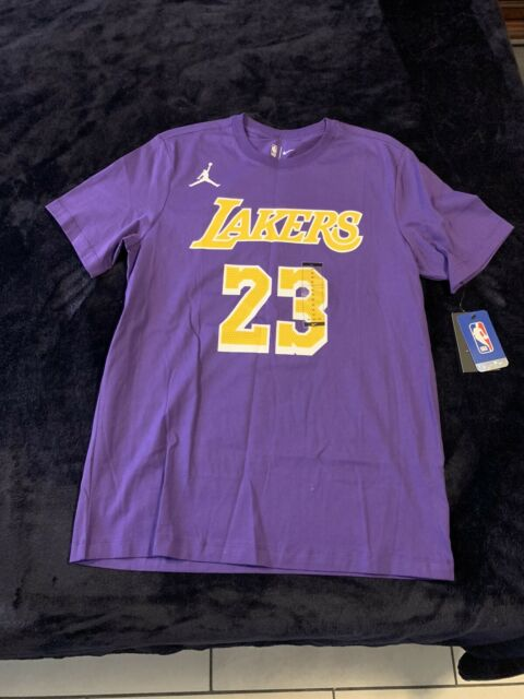 Nike Jordan Mens NBA Lakers Lebron James #23 Purple Tee Shirt Dry ...