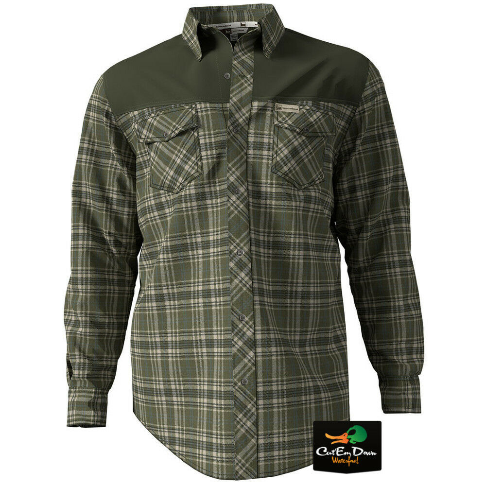 NEW BANDED GEAR SOFT SHELL PLAID FLANNEL LONG SLEEVE SHIRT OLIVE LARGE