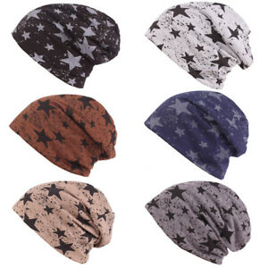 60a0a5141 Details about Men's Fashion Stars Print Cotton Slouchy Beanie Hat Casual  Ski Oversized Cap
