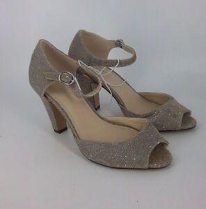 Heeled 05 6 Taglia Nh180 Uk Gold Sandal's Peep Ladie's Xx 39 Toe Eu Glitter Debut 6xz0tqwR