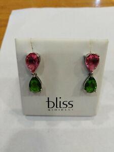 Ohrringe mit Swarovski- Grün/Pink, aus Silber 925,Neu mit Box
