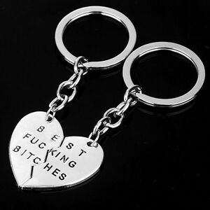 Best-Fucking-Bitches-Key-Ring-Best-Friends-Silver-BFF-Heart-Ladies-Mens-UK-New