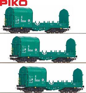Piko-H0-58963-S-Offener-Schiebeplanenwagen-der-Mercitalia-3-Stueck-NEU-OVP