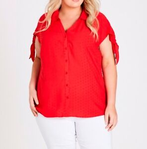 Plus-Size-Autograph-Dobby-Tie-Sleeve-Shirt-Red-Orange-Colour-Size-18-Free-Post