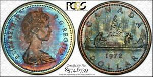1972-Canada-Silver-Voyageur-Dollar-PCGS-SP68-Rainbow-Color-Toned-ONLY-3-Higher