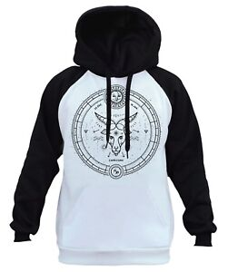 Men's Black Capricorn Star Chart Zodiac White Raglan Hoodie Horoscope Sign B535