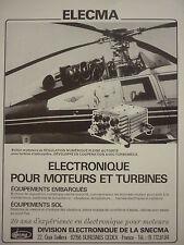11/83 PUB ELECMA SNECMA ELECTRONIQUE MOTEUR AVIATION TURBINE HELICOPTERE AD