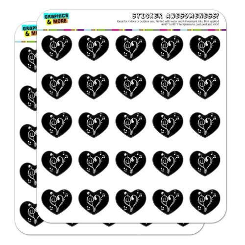 Treble Bass Clef Heart Music Black Heart Planner Scrapbook Craft Stickers