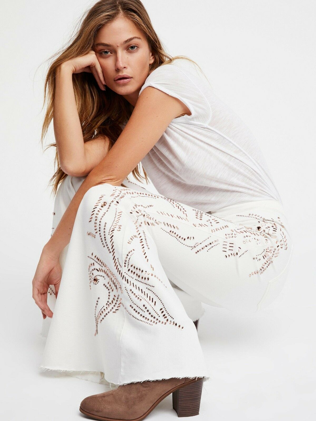 NWT We The Free People Float on in Winter White Embellished Super Flare Jeans 24
