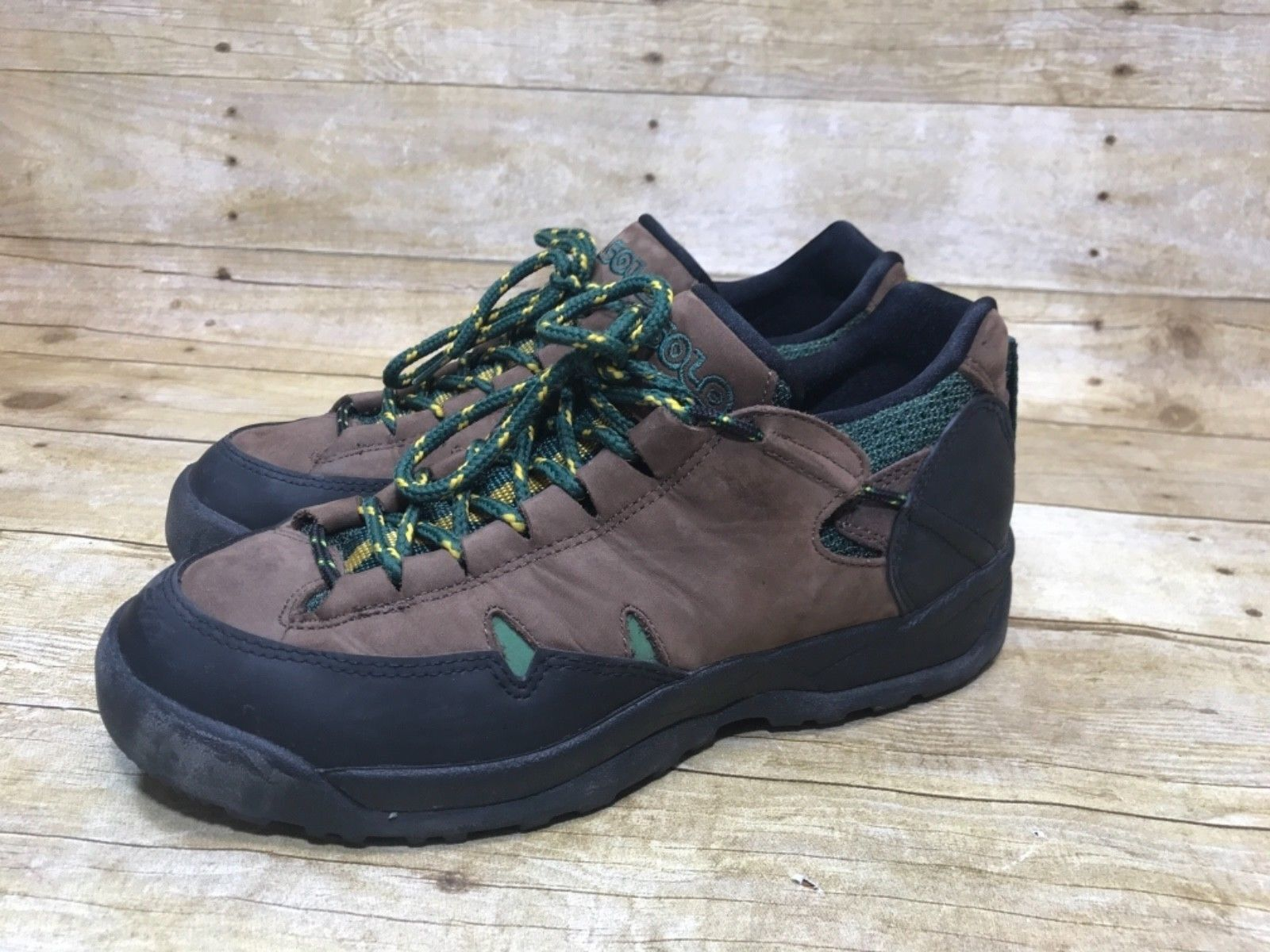 Men Asolo Hiking Trail shoes Size 8.5 Leather Low Top Boot Brown Green