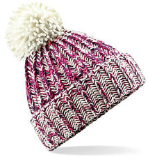 a235f65d40c Beechfield Twist Knit Pom Pom Beanie BC485 - Chunky Warm Winter Woolly Hat