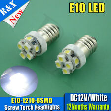 2x bright 6000k E10 SMD 3528 8 LED BULBS MES SCREW TORCH HEADLAMPS