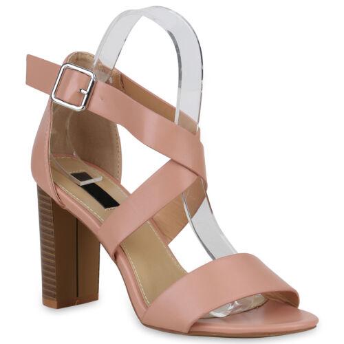 Damen Riemchensandaletten High Heels Sandaletten Sommer Schuhe 823158 Trendy