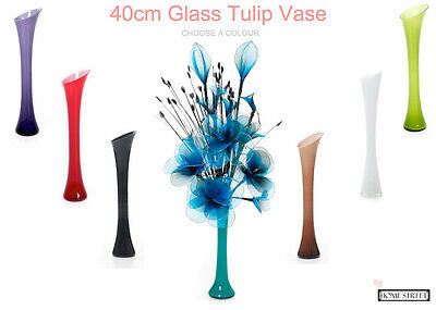 40cm Glass Tulip Vase In Red Brown White Black Lilac Teal Or Green Ideal Display
