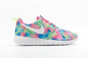 premium selection 92821 7f682 Details about NIKE ROSHE ONE PRINT GS MULTI 677784 607 PINK  BLAST/WHITE-ELECTRIC GREEN-BLUE
