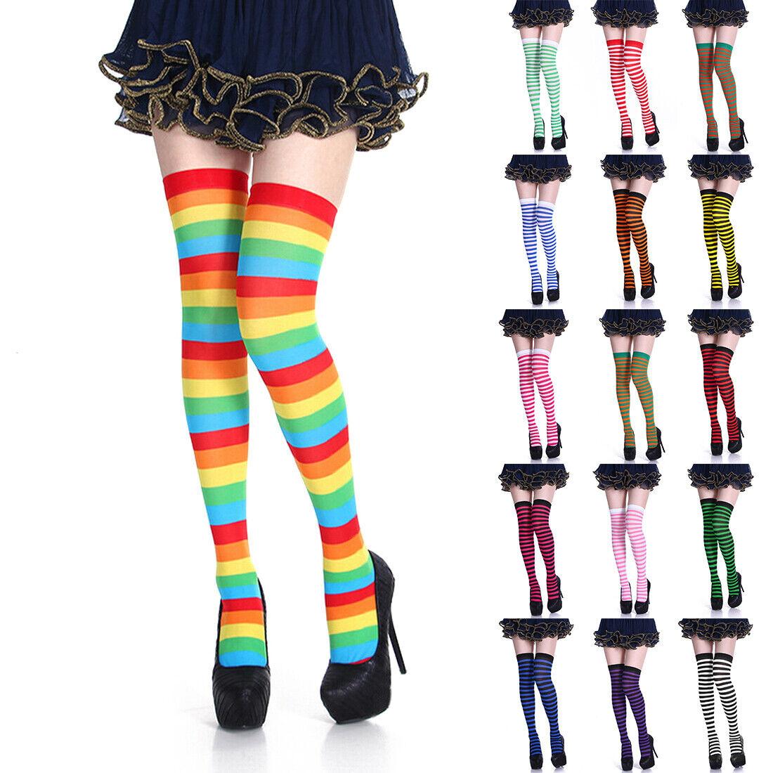 Damen Overknee Strümpfe Gestreift Lang Socken Kniestrümpfe Stockings Leggings