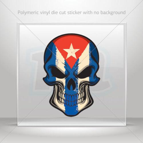 Decal Sticker cuba flag painted on skull Car Motorbike Bike Garage st7 22523