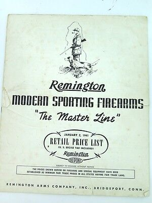 SCARCE 1941 REMINGTON FIREARMS RETAIL PRICE LIST. #2