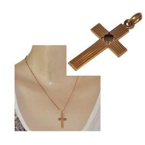 MURAT-Pendentif-croix-ancienne-en-plaque-or-18-carats-bijou