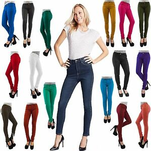 New-Girls-Fashion-Plus-Size-Coloured-Skinny-Stretch-Jeans-Jeggings-Leggings-8-26