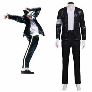 Michael Jackson Mj Billie Jean Negro Chaqueta Y Pantalones Juegos Con Disfraces Disfraz Clasica Ebay