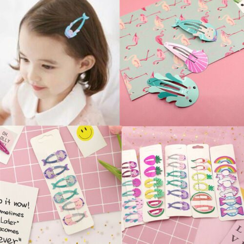 6pcs Colorful Kids Girl Baby Hairpin Hair Clips Cartoon Metal Snap Barrettes