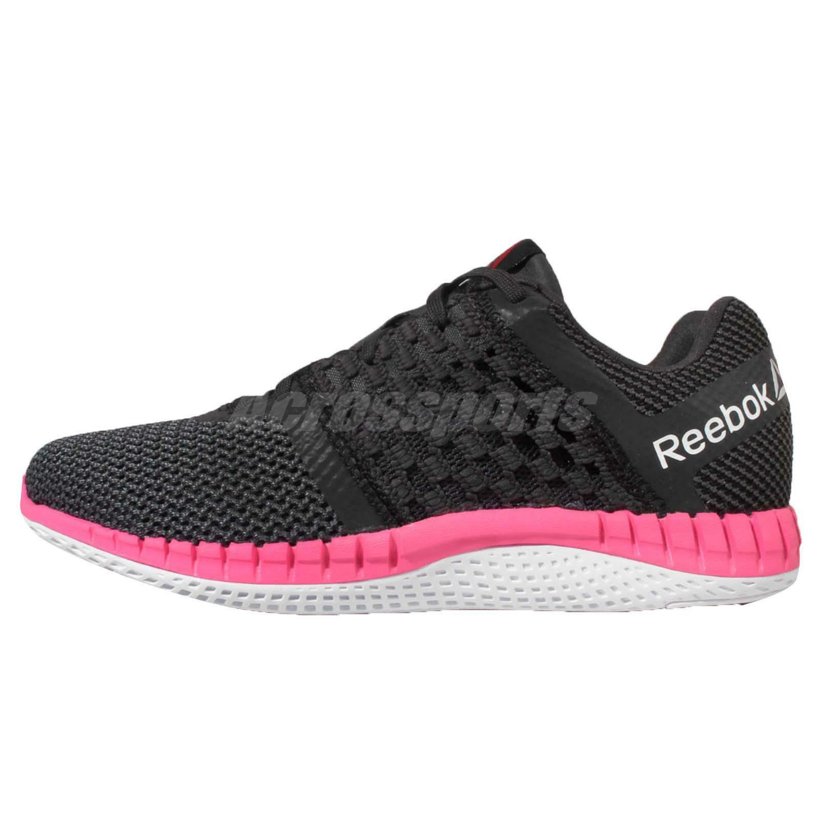 Reebok ZPrint Run Black Pink White Womens Running Shoes Trainers Sneakers V72329