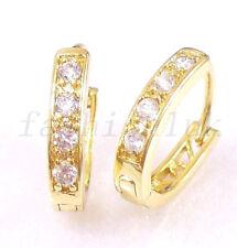 fashion1uk Simulated Diamond 14K Gold Plated Oval Huggie Hoop Earrings 15mm